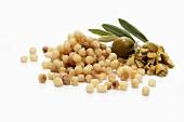 Fregola (Sardinian pasta balls) and olives