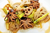 Warm octopus salad with lotus root and celery