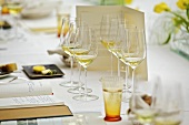 Table laid for a wine tasting
