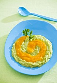 Broccoli puree and carrot puree (baby food)