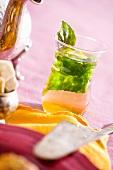 Peppermint tea in glass (N. Africa)