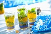 Several glasses of peppermint tea (N. Africa)
