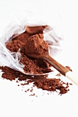 Cocoa powder in plastic bag and on spoon