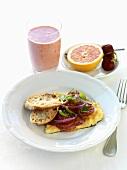 Tomato and onion omelette, grapefruit and milkshake