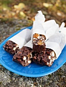 Chocolate bars with nuts and dried fruit