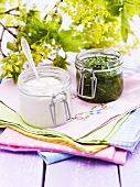 Yoghurt and herb dressing in jars
