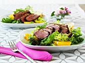 Salad leaves with duck breast and oranges