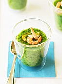 Cucumber and rocket soup with prawns