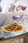 Crabmeat blinis on festive buffet