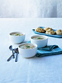 Sevral bowls of soup and scones