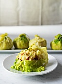 Cabbage leaves stuffed with mashed potato