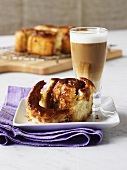 Sticky buns made with potato dough, caffe latte