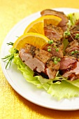 Roast duck breast with oranges