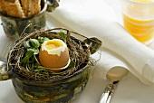 Ein gekochtes Ei im Nest