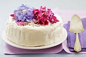 White cake decorated with flowers
