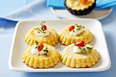 Potato cakes with yoghurt and chilli