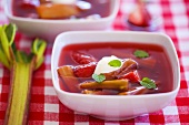 Rhubarb and strawberry soup