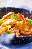 Fried prawns with garlic (detail)
