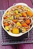 Roasted vegetables (pumpkin, sweet potato, courgettes, garlic, beans)