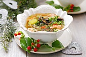 Salmon soup with dried mushrooms (Christmas)