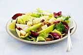 Pear and radicchio salad with pecorino and walnuts