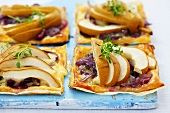 Onion and pear tarts