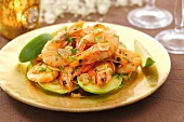 Garlic prawns with avocado and lime