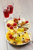 Cheese platter on tiered stand