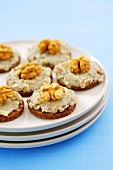 Canapes with tuna spread and walnuts