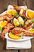 Plate of prawns with fruit