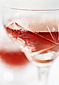 Red wine in a crystal glass (close-up)