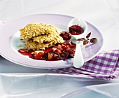 Crispy chicken escalopes with plum sauce