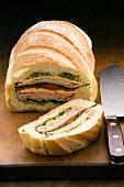 Filled loaf, partly sliced