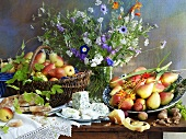 Still life with pears, cheese and a vase of flowers