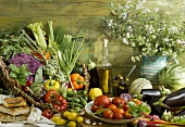 Mediterranean still life with vegetables, fruit, bread