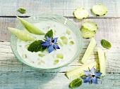 Bowl of tzatziki with cucumber