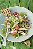 Spinach salad with asparagus