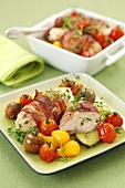 Stuffed, bacon-wrapped chicken breast with tomatoes and courgettes