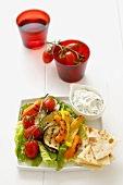 Grilled vegetables with tortillas and herb quark