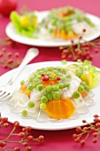 Fish, peas and carrots in aspic (Christmas)