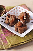 Chestnut sweets with chocolate rolls