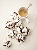 Chocolate biscuits with a cup of cappuccino