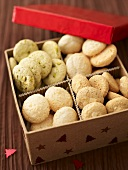 Assorted macaroons in a cardboard box