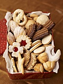 A tin of Christmas biscuits