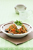 Barley risotto with peas and carrots