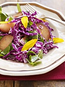 Red cabbage salad with plums