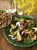 Mushroom sandwiches and toasted almonds