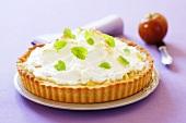 Apple meringue tart with lemon balm