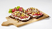 Quark, radishes and radish sprouts on black bread