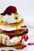 Strawberry shortcake with passion fruit sauce